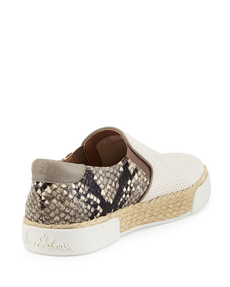 Sam Edelman Banks Snake-Embossed Slip-On Sneaker, White/Putty