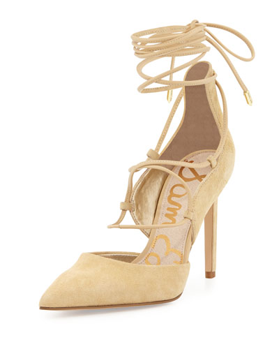 Dayna Suede Lace-Up Pump, Desert Nude