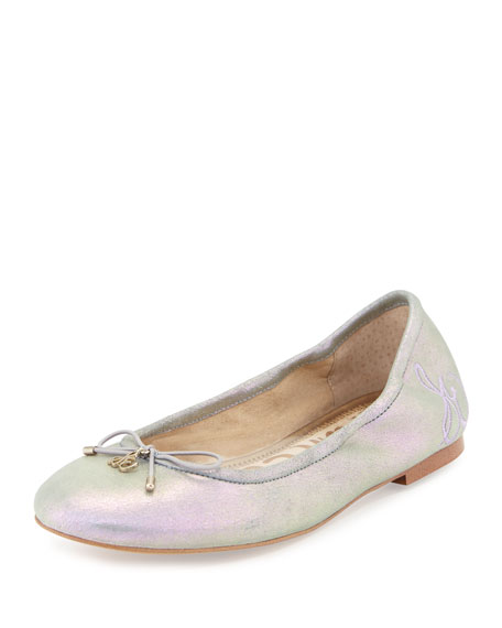 Felicia Classic Ballerina Flat, Gray Metallic