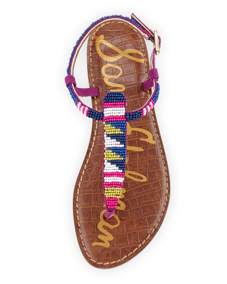 Gail Beaded Flat T-Strap Sandal, Blue/Purple