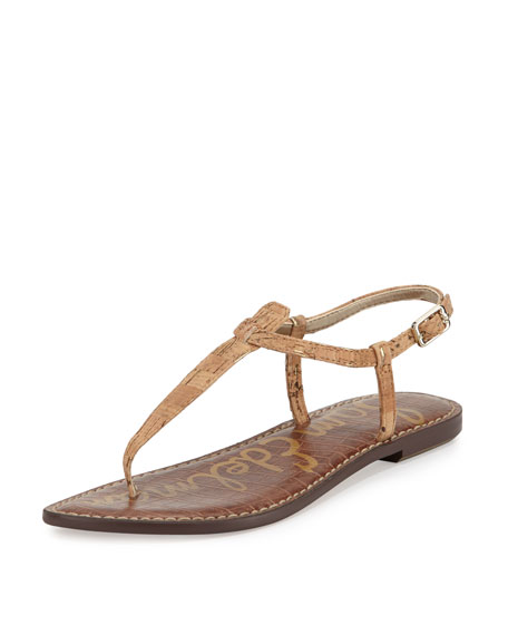 Gigi Flecked Cork Flat Thong Sandal, Natural/Gold