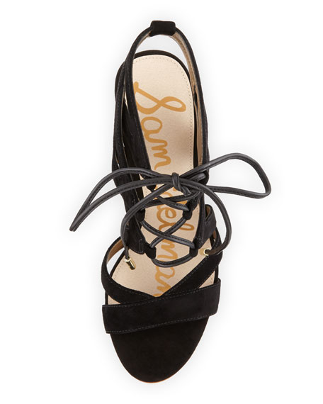 Yardley Suede Lace-Up Sandal, Black
