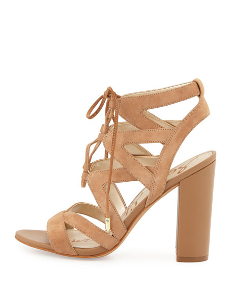 Yardley Suede Lace-Up Sandal, Camel