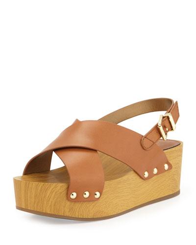 Bentlee Crisscross Wedge Sandal, Saddle