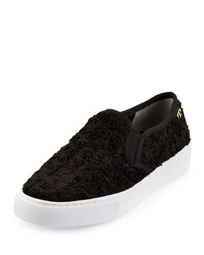 Tory Burch Rosette Slip-On Skate Sneaker, Black