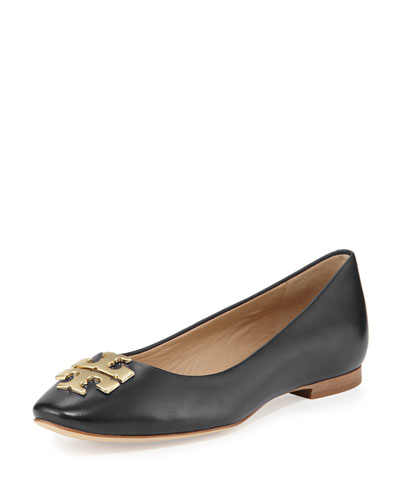 Raleigh Logo Ballerina Flat, Black/Gold