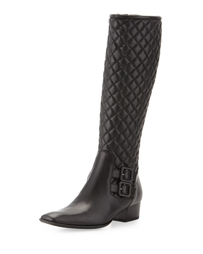 Delice Quilted Knee Boot, Black