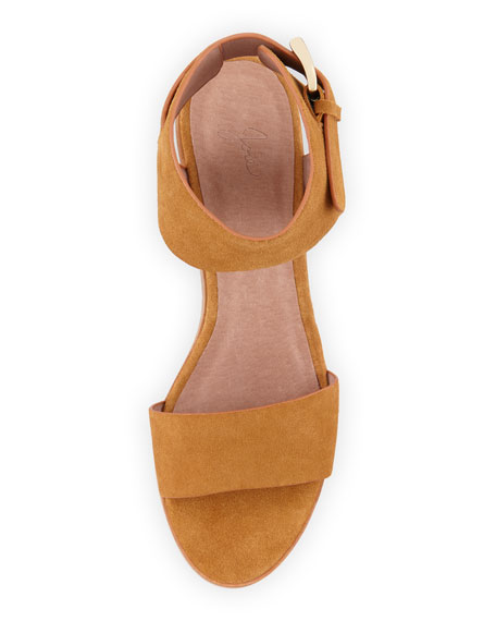 Joie Bea Suede Mid-Heel City Sandal, Whiskey