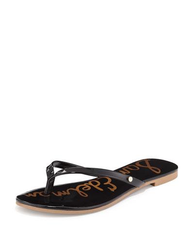 Oliver Flat Patent Thong Sandal, Black