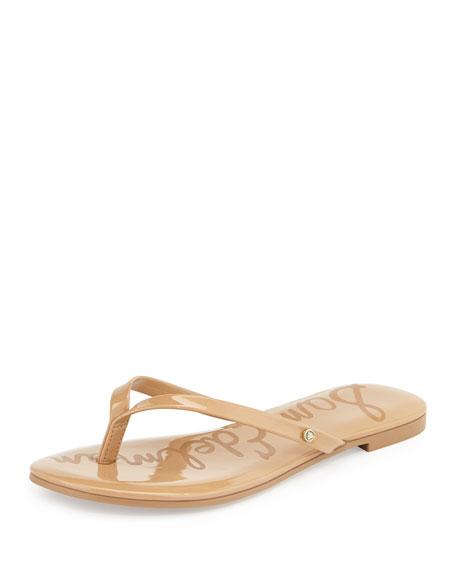 Sam Edelman Oliver Flat Patent Thong Sandal, Almond
