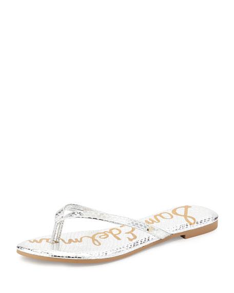 Sam Edelman Oliver Flat Snake-Embossed Thong Sandal, Silver