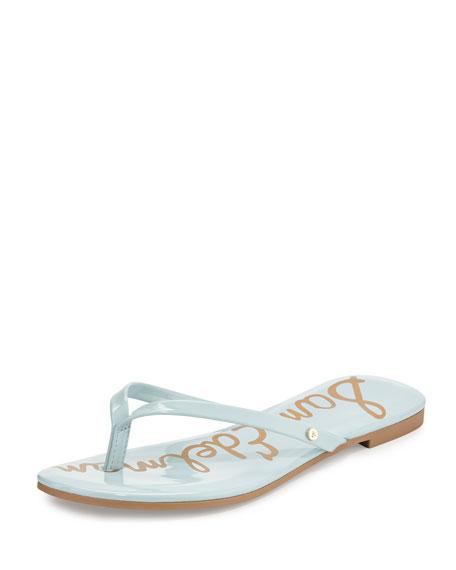 Sam Edelman Oliver Flat Patent Thong Sandal, Eggshell Blue