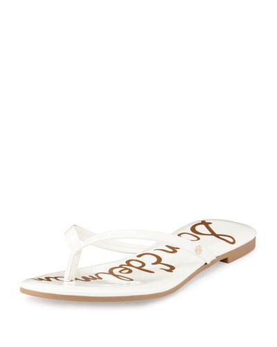 Oliver Patent Flat Thong Sandal, White