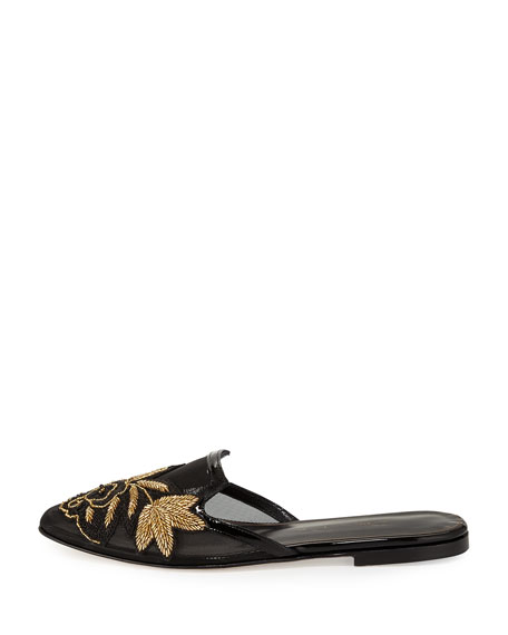 Patrizia Embroidered Slip-On Flat Mule, Black/Gold