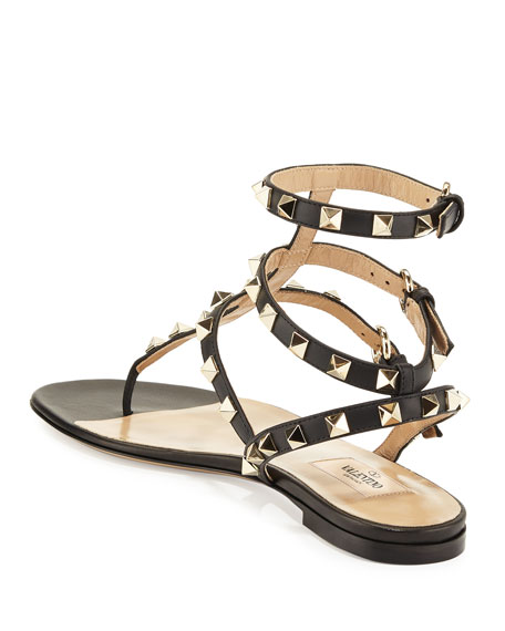 Rockstud Flat Thong Sandals, Black