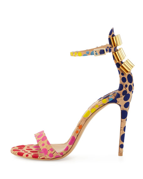 Cork Dot Naked Sandal, Sable/Multi