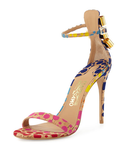Angie Cork Dot Naked Sandal, Sable/Multi