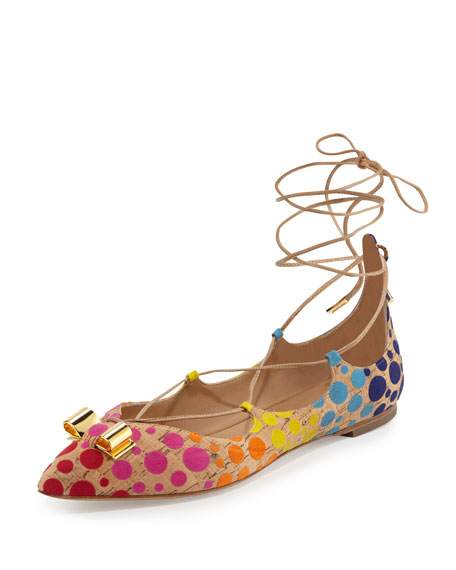 Claire Polka-Dot Lace-Up Flat, Sable
