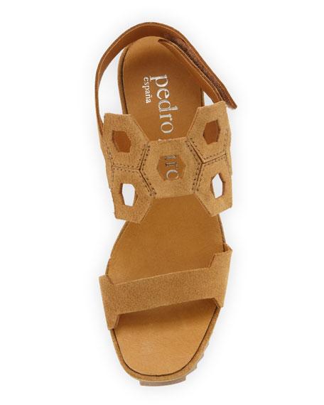 Fermina Geometric-Cutout Wedge Sandal, Caramel