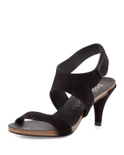 Wisal Suede Mid-Heel Sandal, Black
