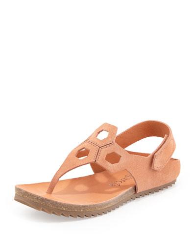 Jaila Geometric-Cutout Flat Thong Sandal, Cameo