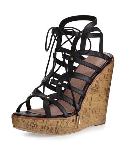Larissa Gladiator Wedge Sandal, Black