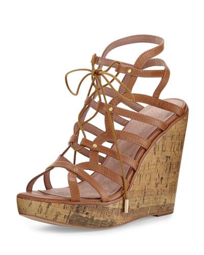 Larissa Gladiator Wedge Sandal, Cuoio