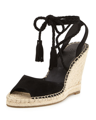 Phyllis Suede Lace-Up Wedge Sandal, Black