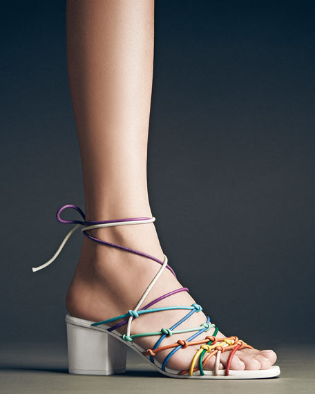 Knotted Ankle-Wrap Sandals, Multicolor