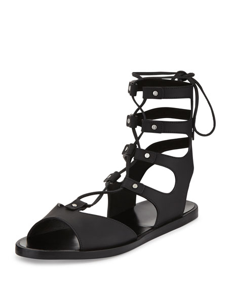 Vince Niva Leather Lace-Up Flat Gladiator Sandal, Black