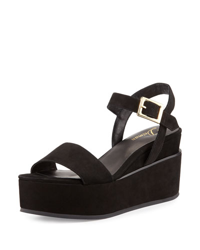 Angie Nubuck Wedge Sandal, Black