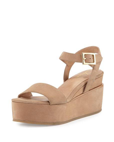 4260e20182c8 Delman Angie Nubuck Wedge Sandal