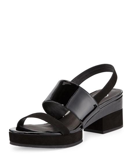 Delman Malia Patent Mid-Heel Sandal, Black