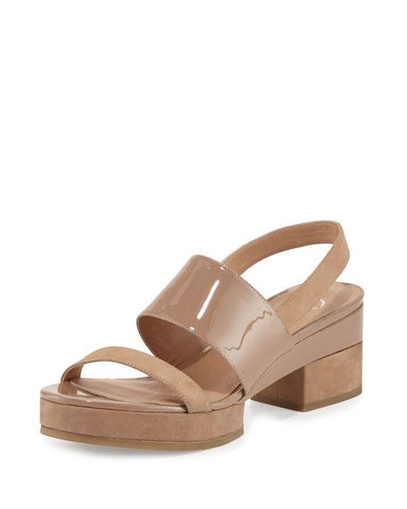 Delman Malia Patent Mid-Heel Sandal, Sand Dune