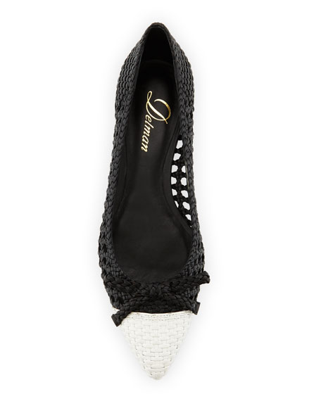 Shana Woven Cap-Toe Ballerina Flat, Black/Chalk