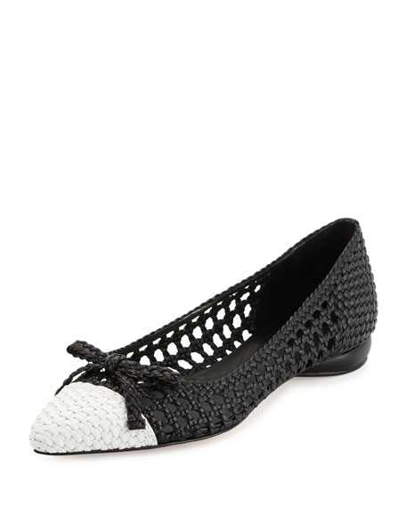 Delman Shana Woven Cap-Toe Ballet Flat, Black/Chalk