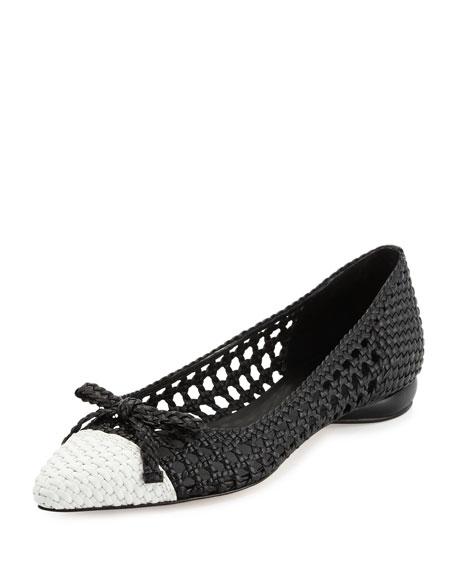 Delman Shana Woven Cap-Toe Ballet Flats, Black/Chalk