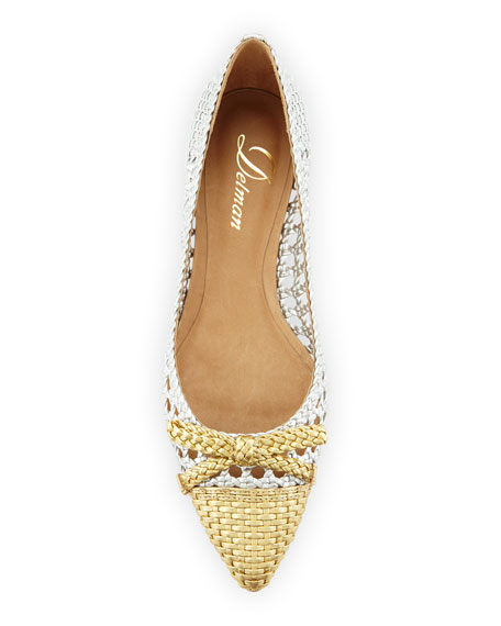 Shana Woven Cap-Toe Ballerina Flat, Silver/Light Gold