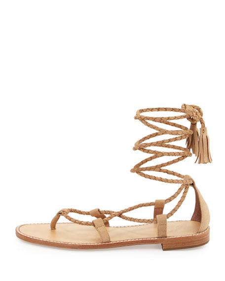 Bailee Lace-Up Flat Gladiator Sandal, Buff