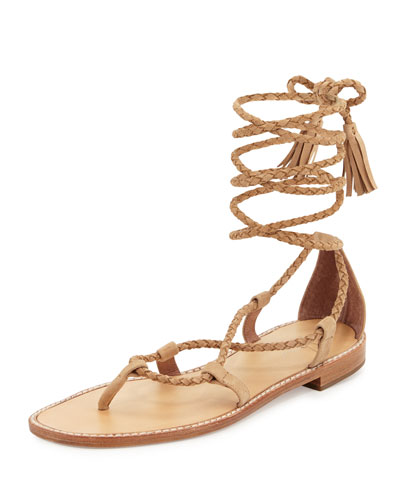 Bailee Lace-Up Flat Gladiator Sandal, Buff