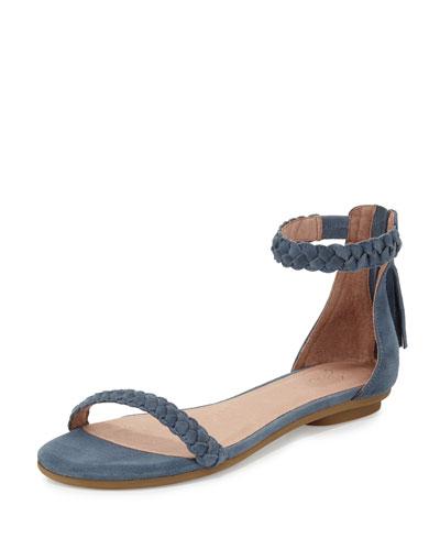 Amina Bare Braided Flat Sandal, Dusk