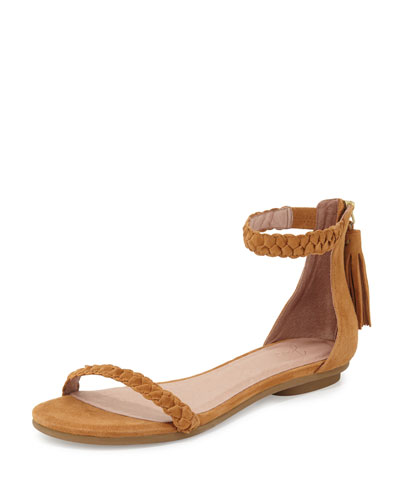 Amina Bare Braided Flat Sandal, Whiskey