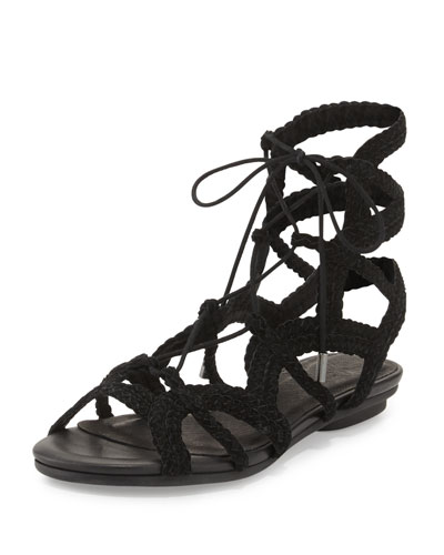 Fynn Braided Lace-Up Flat Sandal, Black