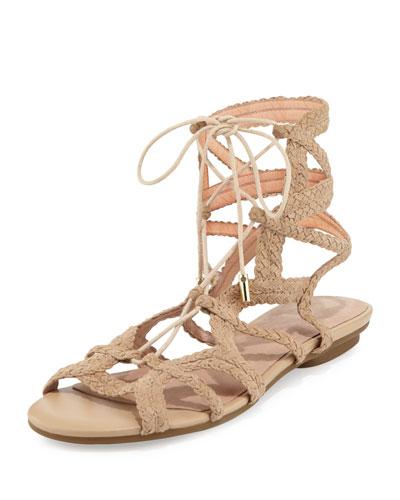 Fynn Braided Lace-Up Flat Sandal, Buff