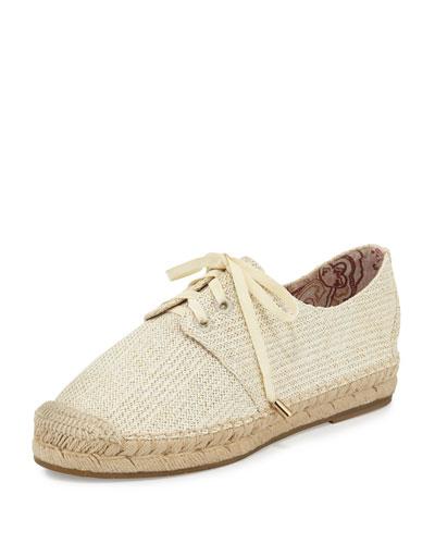 Wallie Raffia Espadrille Sneaker, Ivory