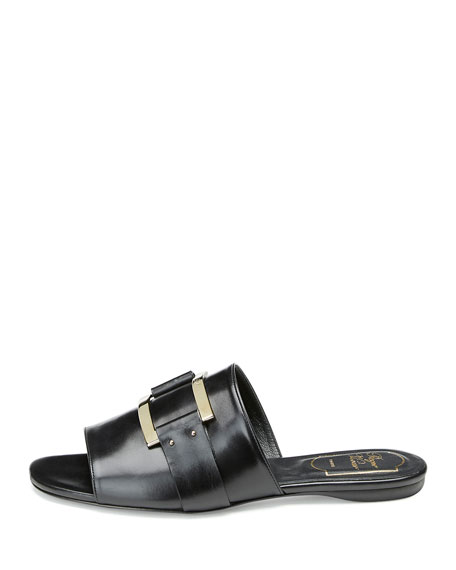 Image 2 of 3: Square-Buckle Flat Slide Sandal, Black