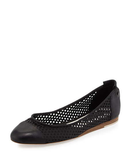 Rag & Bone Sybil Perforated Leather Ballerina Flat, Black