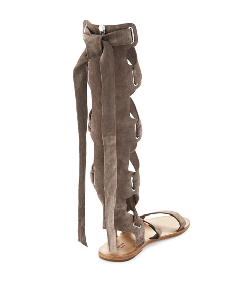 Ilaria Suede Tall Gladiator Sandal, Warm Gray