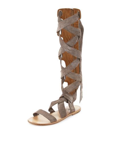 Ilaria Suede Tall Gladiator Sandal, Warm Gray