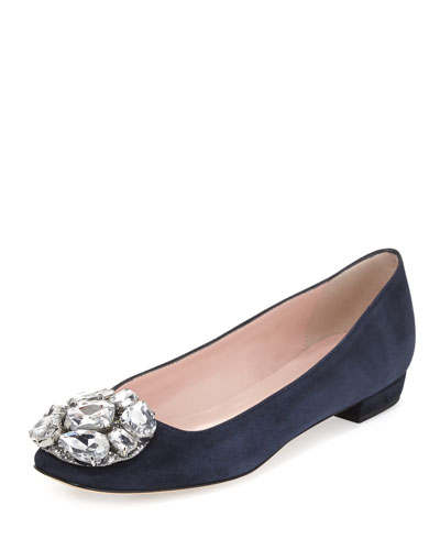 nena jeweled ballerina flat, navy